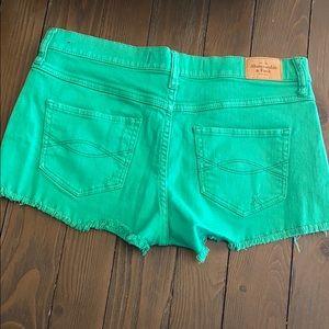 ABERCROMBIE & FITCH Green Cut-off Denim Shorts